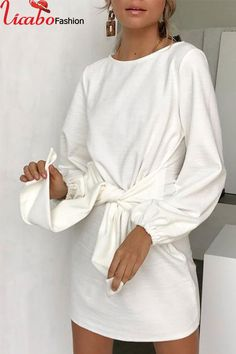 Orsle Daily Regular sleeve Long Sleeve O Neck Mini Dress Trendy Dresses, Simple Dresses, Nice Dresses, Casual Dresses, Short Dresses, Daily Dress, Mini Dress With Sleeves, White Casual, Casual Chic