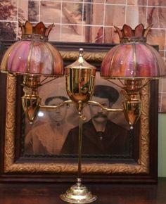 ANTIQUE-BRADLEY-HUBBARD-STUDENT-DESK-OIL-KEROSENE-LAMP-SHADES-DOUBLE-BURNERS