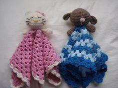 Brittas Ami: Baby blanket (free) Lovey Blankies to crochet Crochet Security Blanket, Crochet Lovey, Crochet Amigurumi, Love Crochet, Baby Blanket Crochet, Crochet For Kids, Crochet Dolls, Lovey Blanket, Crochet Crafts