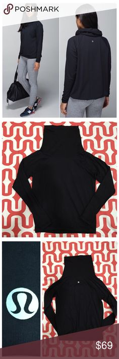 "Lululemon Healthy Heart Pullover Black. New condition. Buttery-soft Rulu fabrication. Slim fit. Large surplus style collar. Thumbholes. Elastic hem. No riptag - 20"" pit to pit. 24.5"" shoulder to hem. No trades. No PayPal. No M. Price firm unless bundled. lululemon athletica Tops Tees - Long Sleeve"