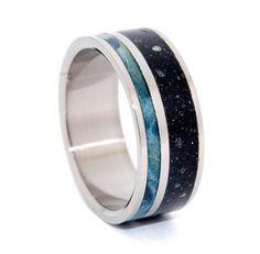 To Rise Above The Dark - Black Concrete And Blue Box Elder Wood Titanium Wedding…
