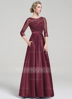 Ball-Gown Scoop Neck Floor-Length Zipper Up Sleeves Sleeves No Other Colors Spring Summer Fall General Plus Satin Evening Dress Mob Dresses, Party Wear Dresses, Ball Dresses, Ball Gowns, Evening Dresses, Dresses With Sleeves, Mother Of Bride Outfits, Mother Of The Bride Gown, Maid Dress