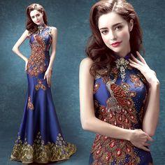 Casamento tradicional chinês longo qipao brocado dragão de ouro laço vermelho vestidos qi pao vestido de casamento tradicional vermelho blu