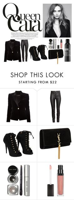 """""""Queen Cara"""" by camzycat on Polyvore featuring Balmain, H&M, Giuseppe Zanotti, Yves Saint Laurent, Bobbi Brown Cosmetics and Verb"""