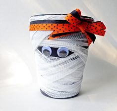 The Mummy Decorative Halloween Clay Pot by Traceritops on Etsy A great addition to your Halloween Decor!