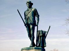 Minute Man Statue of Isaac Davis. (February 23, 1745 – April 19, 1775) was a gunsmith and a militia officer who commanded a company of Minutemen from Acton, Massachusetts, during the first battle of the American Revolutionary War.