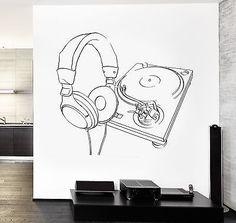 Wall Vinyl Music Headphones Turntable DJ Guaranteed Quality Decal (z3561)