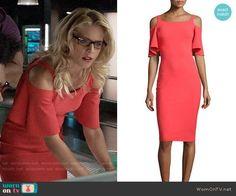 Felicity's coral cold-shoulder dress on Arrow. Outfit Details: https://wornontv.net/82896/ #Arrow