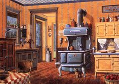 "rural nostalgia art | nostalgic slice of American country life entitled ""Country Kitchen ..."