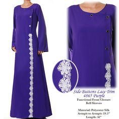 Side Buttons Summer Abaya Lace Muslim Islamic Long by MissMode21