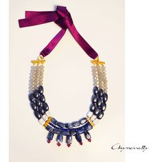 JEWELRY | Chryssomally || Art & Fashion Designer - Unique inspiration statement gold necklace with burgundy, blue, white and grey gemstones and crystals