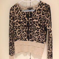 Animal print sweater Double layered waist. 80% rayon 20% nylon INC International Concepts Sweaters Crew & Scoop Necks