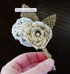 Book flower lapel pin