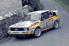 Malcolm Wilson and Nigel Harris with Audi Quattro S1 in Manx Rally.