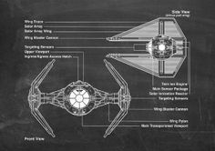 Tie Fighter Star Wars Patent Wall Art Poster by PatentPosters, £4.00