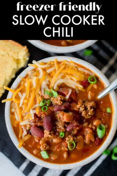 Slow Cooker Beef Chili is a classic chili recipe with one special ingredient that makes it THE BEST chili recipe I've ever made! This chili recipe can be made right away in the slow cooker, or it can be made into a freezer meal for an easy weeknight dinner any time! Classic Chili Recipe, Best Chili Recipe, Chili Recipes, Soup Recipes, Dinner Recipes, Slow Cooker Chili, Crock Pot Slow Cooker, Crockpot, Easy Weeknight Dinners