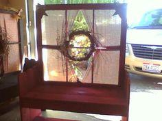Garden bench, primitive, old window