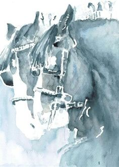 Original watercolour of Horses by Ally Tate £75.00