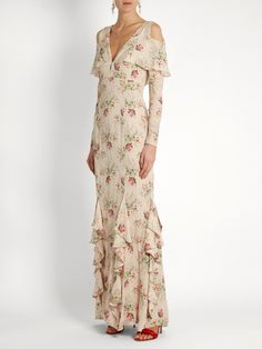 Haute Hippie Last-Draw Floral-Print Snap Front Gown and Matching Items & Matching Items Chiffon Gown, Silk Dress, Princess Line Dress, Haute Hippie, Denim And Supply, Fall Dresses, Evening Dresses, Floral Maxi Dress, Modest Fashion