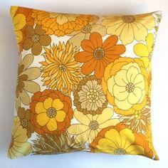 Decorative throw pillow cover yellow retro pillowcase by dalinda