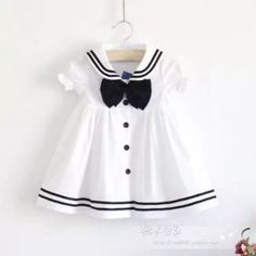 Summer girl white dress sailor navy collar cotton one-piece baby girl dress toddler dress for 1 to girls Girls White Dress, Girls Dress Up, Toddler Girl Dresses, Little Girl Dresses, Toddler Girls, Baby Girls, Baby Dresses, Dresses Dresses, Toddler Toys