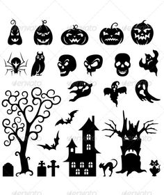 Set of Halloween Silhouettes by hoverfly Set of halloween silhouette on white background
