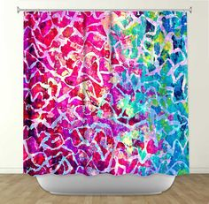 A BEAUTIFUL MESS 2  Fine Art Painting Shower by EbiEmporium, $89.00 Turquoise Blue Magenta Pink Royal Blue Lime Green Crimson lovely Abstract Bathroom Decor, Fine Art Accessories