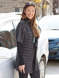 ~~pinned from site directly~~ . . .  Perfect Office Crochet Jacket - Patterns | Yarnspirations