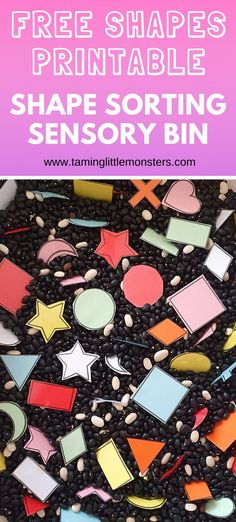 Teach toddlers and preschoolers about shapes with this easy shape sorting sensory bin. A fun way to develop math, fine motor skills, visual discrimination and more. Get the free printable shape templates here, #sensory #toddlers #preschool #shapes #math Preschool Shapes, Teaching Shapes, Help Teaching, Preschool Math, Kindergarten Sensory, Sensory Activities, Sensory Play, Preschool Activities, Sensory Boxes