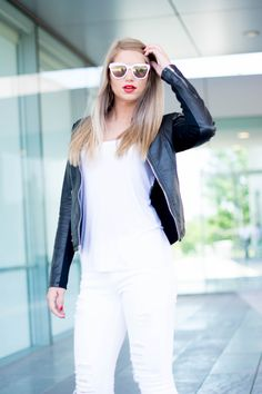 black leather jacket, women's style, white pants, how to style white pants, spring style, red lipstick, affiliate