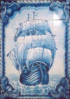 Hand-painted azulejos tiles in Tavira Portugal Tile Murals, Tile Art, Mosaic Tiles, Portuguese Culture, Portuguese Tiles, Tavira Portugal, Spanish Courtyard, Blue Pottery, Nautical Art