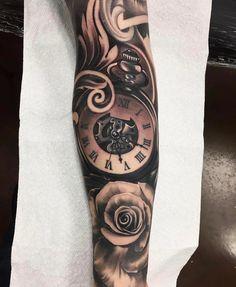 Amazing artist Adrian Lazaro @adrian_lazaro awesome pocket watch elegant design tattoo! @art_spotlight ...