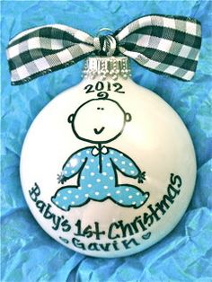 Baby Boy's 1st Christmas  Hand Painted by HappyYouHappyMe on Etsy, $16.50