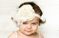 Ivory Flower Headband  Photo Prop  Baby by LittleLadyAccessory, $16.00