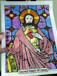 Sacred Heart of Jesus Pictures to color for the feast of the Sacred Heart and the First Friday devotion.