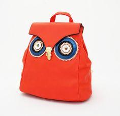Lady Owl Korean Bag, ransel import. Bahan tebal good quality. Warna merah. Uk 29x15x30