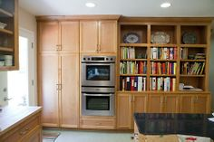 Love the built-in shelving for cookbooks in the kitchen.
