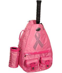 In support of the breast cancer awareness month, make a fashionable arrival to the courts with your SPECIAL Whak Sak Tennis Pink Stone Ribbon Backpack!  #breastcancerawareness #health #hope #pink #ribbon #sports #tennis #lorisgolfshoppe