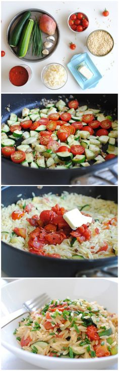4 Tbs. butter, divided 1 large shallot, minced 3 cloves garlic, minced 2 small zucchinis, diced 1/2 cup halved cherry tomatoes 2 cups uncooked orzo 1 (14.5 oz) can Muir Glen fire roasted diced tomatoes, drained 3/4 cup shredded gruyere cheese 2 Tbs. freshly chopped chives 1 pinch coarse salt and freshly ground pepper