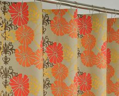 Orange Brown Retro Shower Curtain 72 X By PondLilly On Etsy