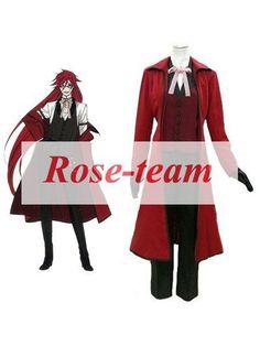Fantasia Anime Lolita-Top Selling Black Butler Kuroshitsuji Death Scythe Grell Sutcliff Anime Cosplay Costume C0056