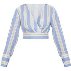 Blue Long Sleeve Stripe Crop Blouse (415 ZAR) ❤ liked on Polyvore featuring tops, blouses, shirts, stripes, blue stripe blouse, blue long sleeve blouse, wrap blouse, white wrap blouse and long sleeve wrap blouse