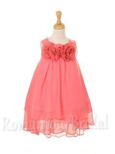 Watermelon Chiffon Flower Girl Dress Tutu Girl by RomantourBridal, $69.99
