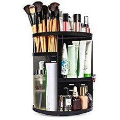 ELOKI 360 Rotating Makeup Organizer, DIY Detachable Spinning Makeup Holder Storage Bag Case Large Capacity Makeup Caddy Shelf Acrylic Cosmetics Organizer Box, Great for Countertop, Black