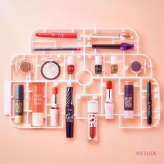 Beauty Packaging, Cosmetic Packaging, Packaging Design, Cosmetic Display, Cosmetic Design, Etude House, Cute Makeup, Beauty Makeup, Beauty Shots