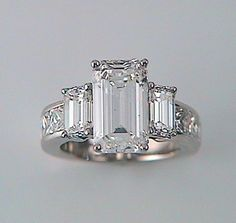 Jewelry OFF! Brilliant White Emerald Cut Diamond Ring with Emerald Cut Side Stones and Radiant Band Emerald Cut Diamond Engagement Ring, Emerald Cut Diamonds, Diamond Rings, Diamond Cuts, Gemstone Rings, Pink Diamonds, Solitaire Engagement, Emerald Jewelry, Diamond Jewelry