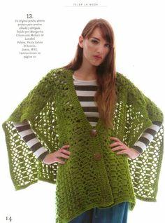 Patrones Crochet: Chaqueta Capa Poncho Patron