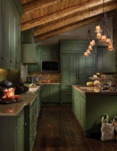 Kitchen design, many ideas that will suit you! Enjoy watching the photo. Beautiful and Cozy Green Kitchen Ideas. Green Kitchen Cabinets, Kitchen Cabinet Colors, Kitchen Island, Kitchen Interior, Kitchen Decor, Kitchen Ideas, 50s Kitchen, Cozy Kitchen, Kitchen Wood