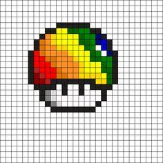 Rainbow Mushroom Perler Bead Pattern
