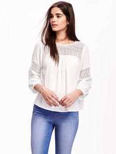 Lace-Sleeve Gauze Boho Blouse for Women | Old Navy